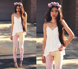 Jennifer Wang - Roses & Clementines Lavender Flower Crown, 2020ave Tie Dye Jeans, Nine West Nude Ankle Strap Pumps - ENCHANTED