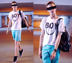 Adrian Kamiński - Brylove Glasses, Choies White T Shirt Boy, H&M Shorts, Nike Shoes - ♦ INCOGNITO BOY ♦
