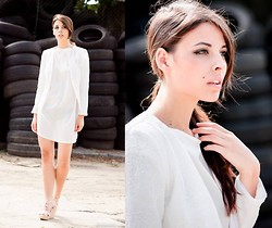 Nicol Rozwadowska - H&M White Suit, H&M White Dress - White simple look