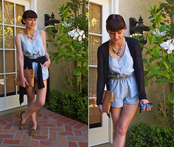 Adrienne KL - Kew Linen Cardigan, Urban Outfitters Playsuit - SUMMER PLAYSUIT
