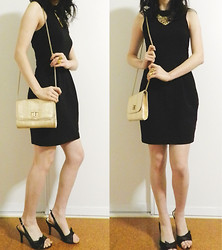 Amy Liu - Forever New Black Dress, Colette Gold Clutch, Heels, Colette Gold Necklace, Lovisa Rings - ღ midas touch ღ
