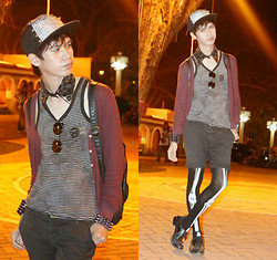 Mark Campos - Forever 21 Cardigan, Topman Tank Top, Vintage Shorts, Pierre Cardin Black Shoes, Romwe Tights, Romwe Cap, Romwe Collar, Romwe Glasses, Romwe Accessories, Vintage Bag - The Walking Dead (ROMWE)