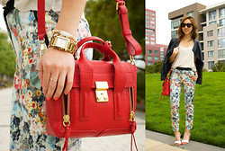 Christine Y - 3.1 Phillip Lim Mini Pashli, H&M Floral Trouser, Topshop Scalloped Tank, Michael Kors Watch, Zara Heeled Sandals, Dolce & Gabbana Sunglasses - Bottoms up in floral