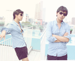 Nathan Barreras - Prada Sunglasses, Cotton On Button Down Shirt, Armani Exchange Shorts - Summer at Luxent