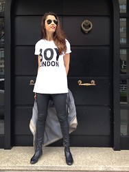 Patricia G. - Ray Ban Glasses, Boy London Shirt, Zara Pants, Zara Boots - The Boy