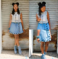 Martina McFarlane - Uniqlo Blouse, Plenty By Tracy Reese Asymmetric Denim Skirt, Unif Hellbound - Living In A Quirky World
