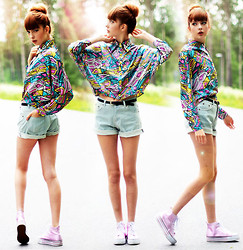 Ebba Zingmark - Choies Geometric Patterned Silk Blouse, Sheinside Denim Shorts, Rapunzel Of Sweden Fake Bangs, Even&Odd Sneakers - Time To Pretend