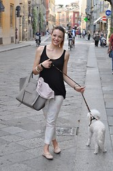 Melissa Cabrini - Roccobarocco Trousers, Céline Bag, Pinko Cardigan, Tod's Shoes - Hot Weather In The City