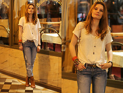 Lila G - H&M White Loose Top, Primark Boyfriend Jeans, Miista Cut Out Sandals - All time favorites