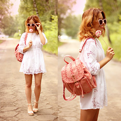 Wioletta Mary Kate - Chic Wish Dress, Chic Wish Backpack, Chicnova Shoes, Zerouv Sunglasses - Candy