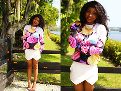 Gaëlle Seyi - Zara White Skirt, Asos Gugu Cupcake Jumper, Amazon Gold Chunky Chain, Zara Irredescent Heel Sandals - U need cupcakes this summer