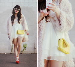 Willabelle Ong - Lacambra Yellow Chic Leather Sling, Kitty Cat Wedges, Shaggy Coat, Nude Cat Eye Sunglasses - Blush