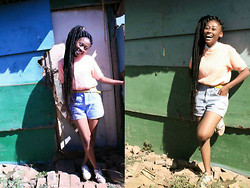 Mpumelelo Nhlapo - Peach Jersey, High Waisted Shorts, Adidas Floral Print Sneakers - Never fully dressed without a smile :)