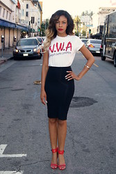 """Slim"" Shay D - Lench Mob Nwa Tee Shirt, Bebe Pencil Skirt, Zara Strappy Sandals - Straight Outta Compton"