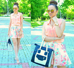 Inside the B World - Sunglasses, H&M Shirt, Bershka Skirt, Bag, Zara Sandals - Floral skirt