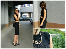 Naida P - Mango High Waisted Skirt, Delirious Sunglasses, Oviesse Heels, Ebay Gold Chain, Haris Export Cropped Top - Cropped
