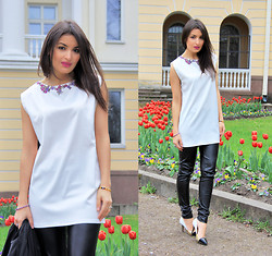 Lucine A - Natalia Õnnis White Tunique, Lindex Leather Pants, Zara Multitoned Shoes - White Tunique