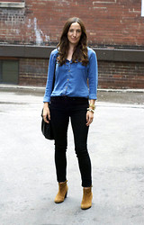 Emma Whyte - Zara Shirt, Rag & Bone Jeans, Miss Kg Boot, Michael Kors Watch, H&M Bag - Denim on Denim
