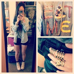 Karen Y - Forever 21 Gold Chain, Forever 21 Eat Me T Shirt, Target Denim Shirt, Target Leather Shorts, Converse, H&M Armor Ring, H&M Spiked Ring, H&M Chain Link Ring - Eat Me