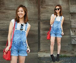 Christine Y - H&M Overalls, 3.1 Phillip Lim Mini Pashli, Elizabeth And James Sunglasses - Overall the textured white