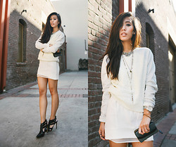 Jenny Ong - Vs Lace Crew, Line & Dot Sheer White Skirt, Shoemint Heels - Lace on a crew