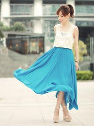 Prisca E. - Sheinside Leaves Lace Top, Choies Blue Maxi Skirt, Zara Nude Wedges - Sea of Love