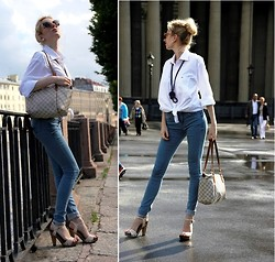 Lise Kapris - Prada Sandals, Topshop Jeans, Louis Vuitton Bag, Lacoste Shirt, From Tailand Pearls - St.Petersburg's dreams