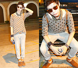 Mark Campos - Forever 21 Polka Shirt, Romwe Sunnies, Romwe Colar, Topman Oxford, Forever 21 Socks, Romwe Spikes, Topman Pants - Cuz I'm cool like that