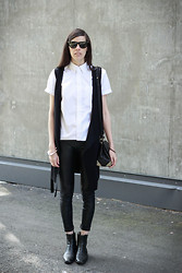 Melissa Araujo - American Apparel Top, Melissa Araujo Vest, Alexander Wang Leather Bag, American Apparel Leggings, Vintage Leather Boots - Things Are Not Quite So Simple As Black & White