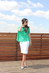 Filipa Moreira - Choies Blouse, H&M Skirt, Sergio Rossi Shoes - Green and white