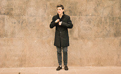 Asier Aramburu Balmaseda - Zara Coat, Zara Trousers, Sebago Driving Shoes - Nude black