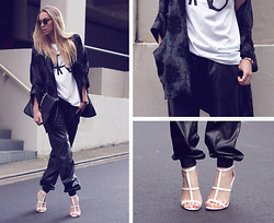 Stephanie Kramer - Esther Boutique Leahter Boxing Pants, Asos Hostage Heels, Asos Paris Boyfriend Tee - One all