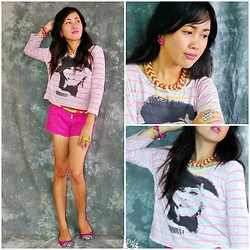 Dalz Salas - Graphic Tee, Hot Pink Shorts, Smiley Flats, Braided Necklace - Vibrant Vintage :)