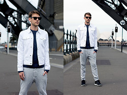 Liam M - Acne Studios Track Pants, Asos Denim Jacket - WHITE DENIM