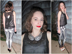 "Pauline B - Romwe Leggings, Nine West Black And White Heels, Forever 21 Collar - ""I love Large Parties..."" (on my blog)"