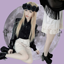 Chloé XXX - Diy Roses Crown, Sam Fashion Lace Tassels Top, Lace Silk Skirt, Jeffrey Campbell Heels - ✞VIOLET PARADISCO✞