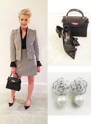 Amelia Tordoff - Zara Suit (Change Of Buttons), Italian Leather Lady Bag, Emilio Pucci Pointed Heels, Malissa J Earrings - High ho high ho It's off to work I go...
