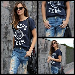 Lady Addict - Zarando T Shirt, Zalando Jeans, Ikks Bag - Baseball t-shirt