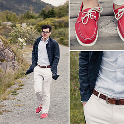 Chris Nicholas - Calvin Klein Dove Gray Pants, Indochino Blue Striped Shirt, Cole Haan Leather Braided Belt, Rockport Red Deck Shoes - Windy Day