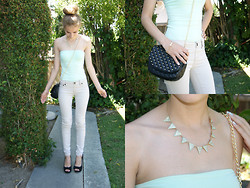 Jordan Justine - Forever 21 Studded Quilted Crossbody, Forever 21 Rhinestoned Bow Bracelet, H&M Mint Tube Top, Pink Stripes Mint Spiked Necklace - Buns and Bows