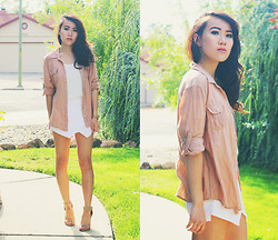 Tiffany Chang - Forever 21 Button Up Shirt, Sheinside Skort - Peaches and Cream
