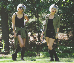 Chelsea Miller - H&M Tank, Pacsun Button Up, Forever 21 Studded Shorts, Jeffrey Campbell Homg Sneakers - Mean Green