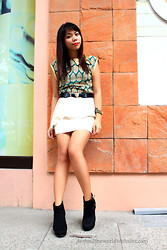 Alex Zeta - What A Girl Wants Gold Collar, Forever 21 Peplum, What A Girl Wants Tiger Buckle, Wedge Booties - Many Leaves, One Tree