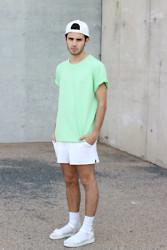 Thibaud G. - Vagabond Leather Sandals, Lacoste Vintage Shorts, Cheap Monday T Shirt, Weekday White Cap - Everything's gone green