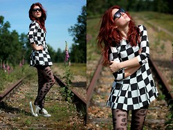 Suz - Sheinside Dress, New Look Tights, Converse All Stars, Neo Vision Eyewear Glasses - Linesman