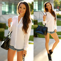Jessica R. - Equipment White Blouse, Gjg Denim Jean Shorts, Prada Black Saffiano Lux - White on Denim