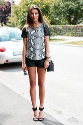 Madalina Simona Merca - Zara Sandals, Zara Leather Shorts, Prada Glasses, Chanel Clucth - Reptile Leather