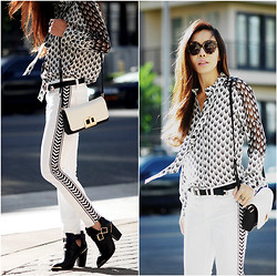Hallie S. - Bebe Jeans, Shoemint Boots, Rag & Bone Shirt - Black and White