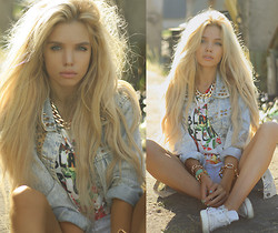 Ekaterina Normalnaya - Sheinside Floral T Shirt, Chicy Stud Denim Jacket, Converse White, Romwe Chain Necklace - Я на даче