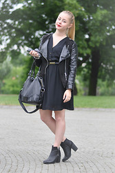 Tess Kratochvilova - H&M Dress, H&M Biker Jacket, H&M Shoes, Topshop Bag - First time